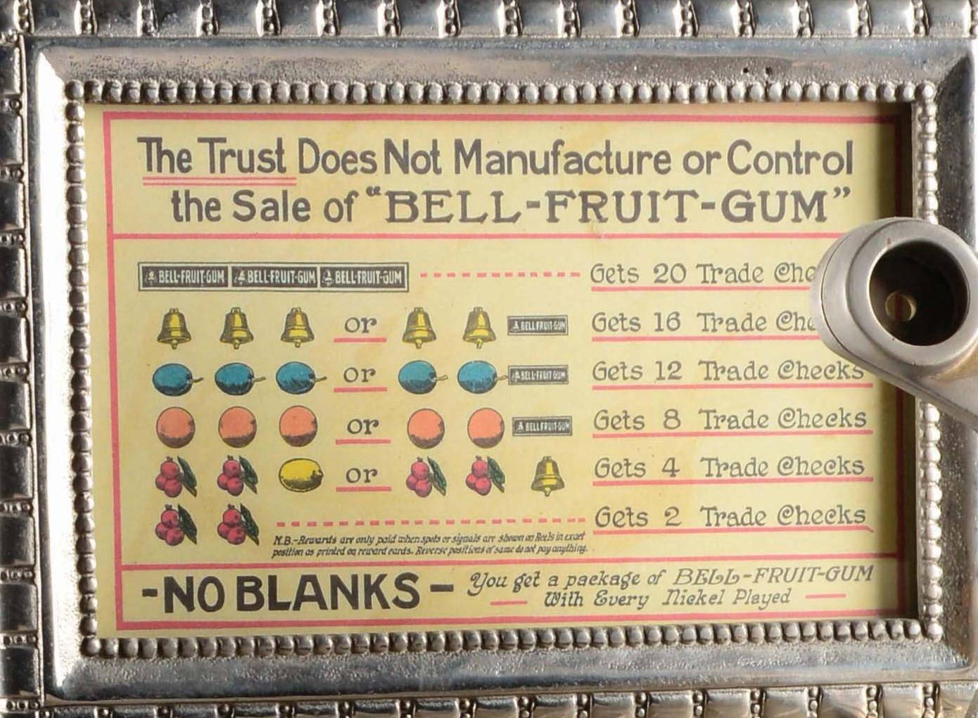 Tableau de gain dune machine a sous Bell Fruit Gum