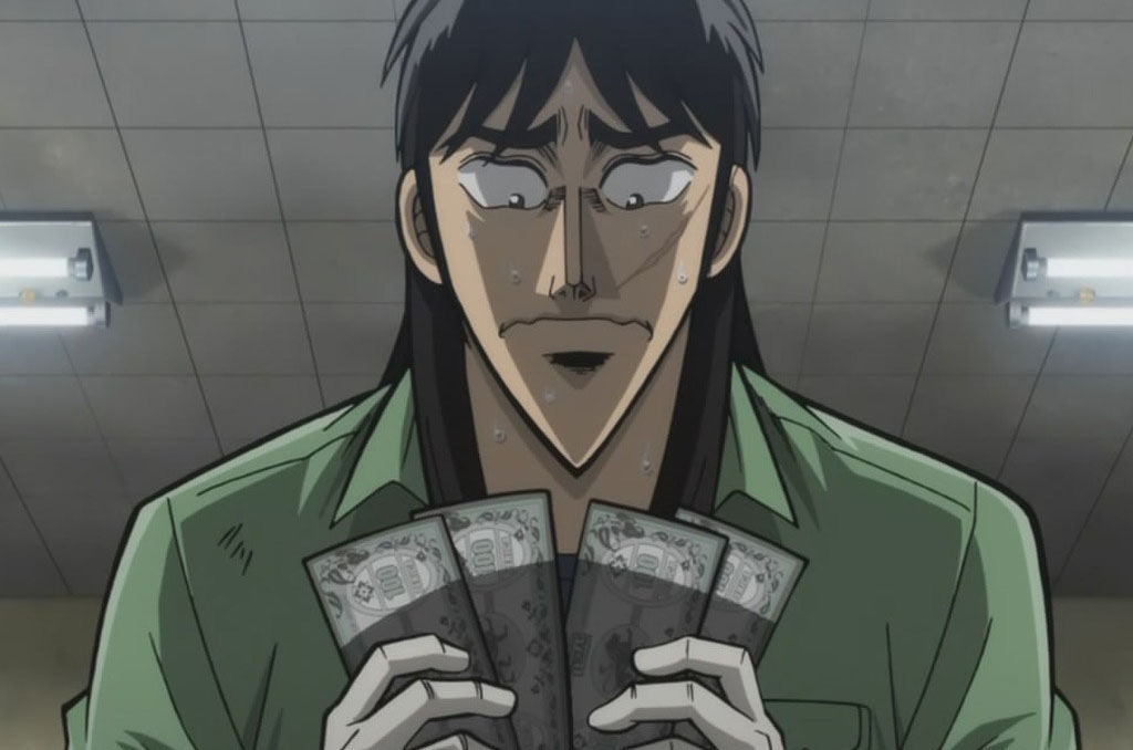 Kaiji jouant au Mahjong